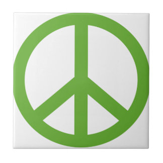 Green Peace Sign Symbol Tile