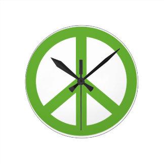 Green Peace Sign Symbol Wallclock