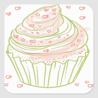 green_peach_cupcake_with_icing square sticker