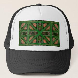 Green Peach Plaid Trucker Hat