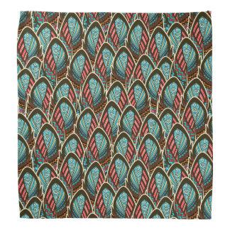 Green Peacock boho feather pattern Bandannas