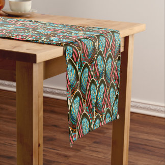 Green Peacock boho feather pattern Short Table Runner