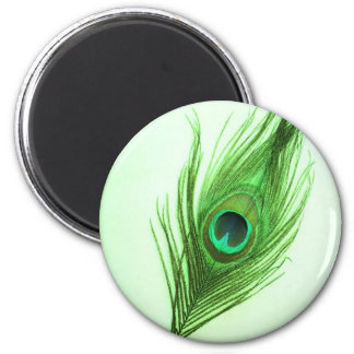 Green Peacock Feather 2 Inch Round Magnet