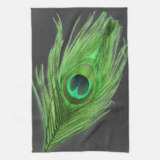Green Peacock Feather on Black Kitchen Towel