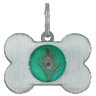 Green Peacock Feather Pet Tag