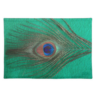 Green Peacock Feather Placemat