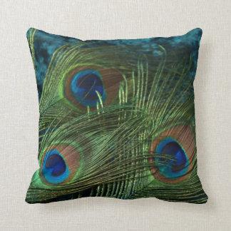 Green Peacock Feather Throw Pillow