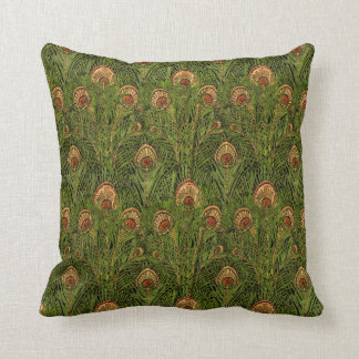Green Peacock Feathers Throw Pillow
