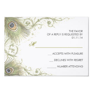 green peacock feathers vintage wedding RSVP cards