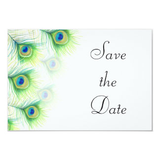 """Green Peacock Feathers Wedding Save the Date 3.5"""" X 5"""" Invitation Card"""