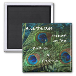 Green Peacock Wedding Save the Date Magnet