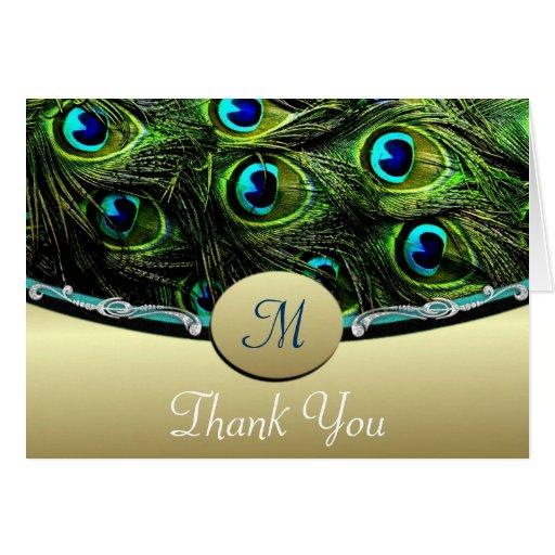 Green Peacock Wedding Thank You Cards