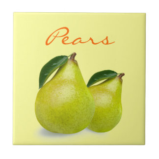 Green Pear Fruit with Leaves Wording on Yellow Tile