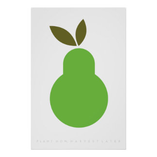 Green Pear Retro Poster 60's 70's Quote