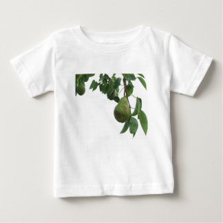Green pears hanging on a growing pear tree baby T-Shirt