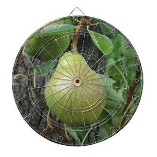 Green pears hanging on a growing pear tree dartboard