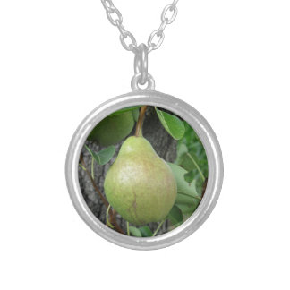 Green pears hanging on a growing pear tree silver plated necklace