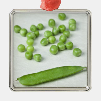 Green peas and husk metal ornament