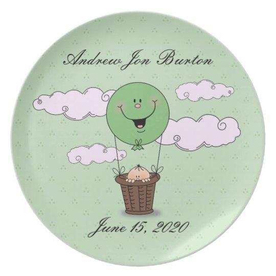 Green Peek a Boo Baby Boy (Light Skin) Plate
