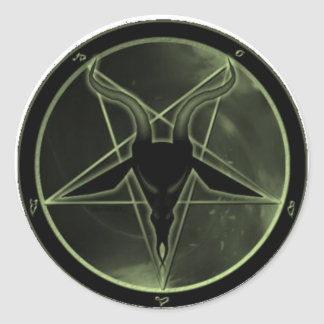 Green Pentagram Classic Round Sticker