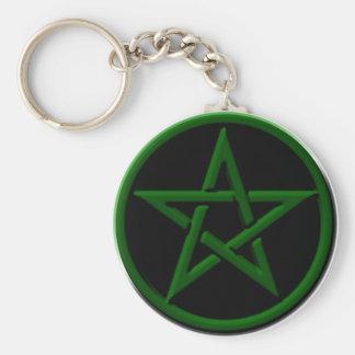Green Pentagram Keychain