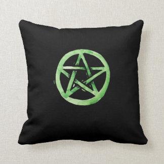 Green pentagram throw pillow