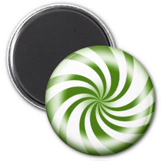 Green Peppermint Candy Round Refrigerator Magnet