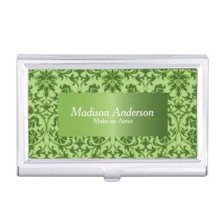 Green Peridot Damask Print | Personalize Business Card Case