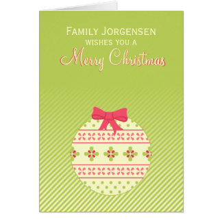 Green Personalized Christmas Ornament Card