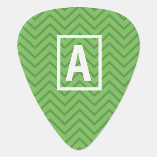 Green personalized initial guitar pick