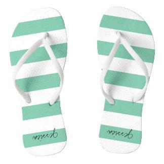 Green Personalized Stripe Thongs