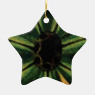 green petal flowers ceramic ornament