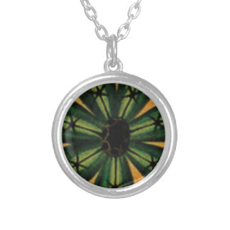 green petal stemm silver plated necklace
