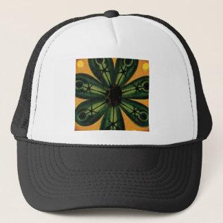 green petal stemm trucker hat