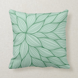 Green Petal Watercolor Pillow