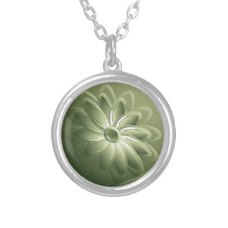 green petals silver plated necklace