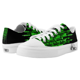 Green Phantom Dragon Binary Code Low-Top Sneakers