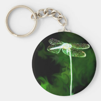 Green Phantom Dragonfly Basic Round Button Keychain