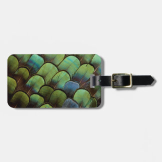 Green pheasant geather pattern luggage tag