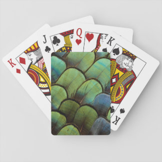 Green pheasant geather pattern playing cards