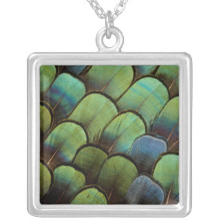 Green pheasant geather pattern silver plated necklace