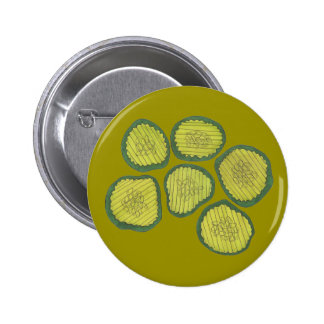 Green Pickle Chips Kosher Sweet Dill Pickle Chip 2 Inch Round Button