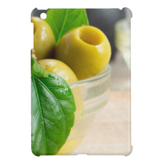 Green pickled pitted olives closeup iPad mini cover