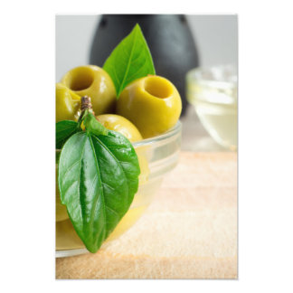 Green pickled pitted olives closeup photo print