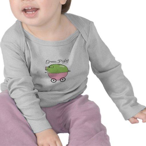 Green Pig (Pink) Long-sleeved T Shirts