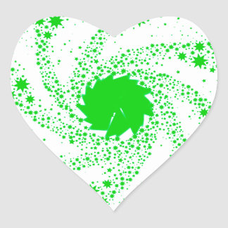 Green Pin Wheel Heart Sticker