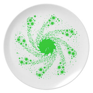 Green Pin Wheel Party Plate