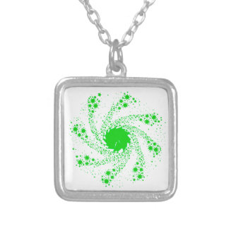 Green Pin Wheel Silver Plated Necklace