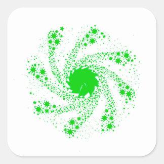 Green Pin Wheel Square Sticker