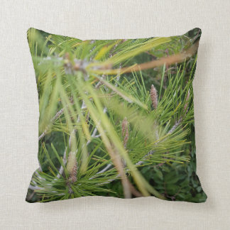 green pine leaves beautiful  and refreshing throw pillow